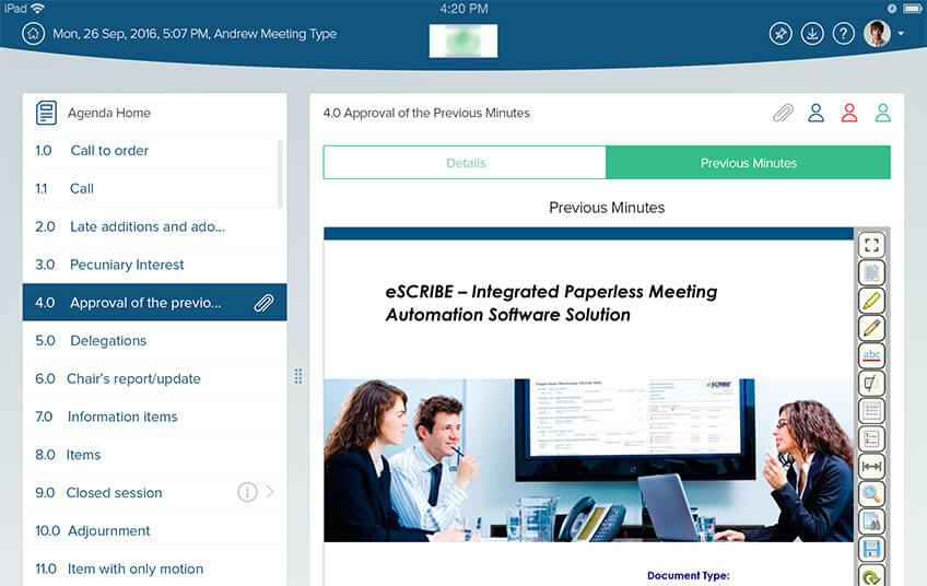 Escribe Meeting Approval Previous